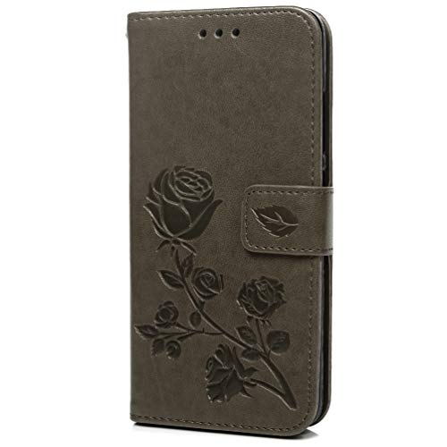 Xiaomi Redmi 6A Hülle, PU Leather Flip Wallet Case Cover Klappbares Magnetverschluß Holder Handyhülle Brieftasche Schutzhülle für Xiaomi Redmi 6A Klappen mit Integrierten Kartensteckplätzen grau