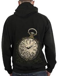 Sweat-shirt zippé à capuche Homme / Steam Punk / 1837 Montre à gousset - Taille : XL - Couleur : Noir