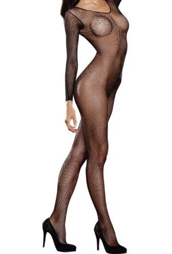 loveorama.de Dreamgirl Bodystocking 0015 schwarz Größe: Queen-Size Dessous Schwarz mit langen Ärmeln und offenem Schritt