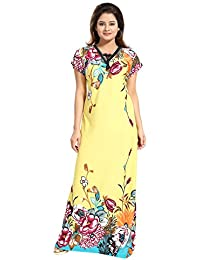 TUCUTE Women s Sarina Night Gown Nightwear Nighty Nightdress with Floral  Print Border a0d2c2137