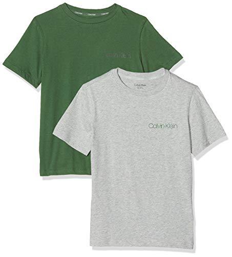 Calvin Klein Jungen 2PK TEES Funktionsunterwäsche, Grau (1GreyHeather/1GreenerPastures 0IS), 164 (Herstellergröße:14-16) (2er Pack)