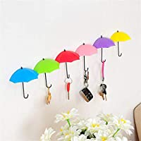 12Pcs Colorful Umbrella Wall Hook Key Hair Pin Holder Organizer Decorative