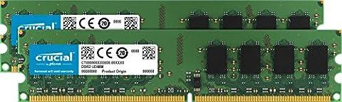 Crucial 8GB Kit (4GBx2) DDR2 667MHz (PC2-5300) Unbuffered UDIMM 240-Pin - CT2KIT51264AA667