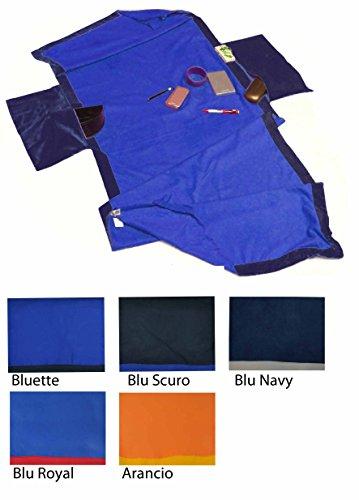 Sandy Strandtuch für die Liege 70x190 cm, mit Taschen. - BLU ROYAL - BLAUE ROYAL (Tasche Verschönert)