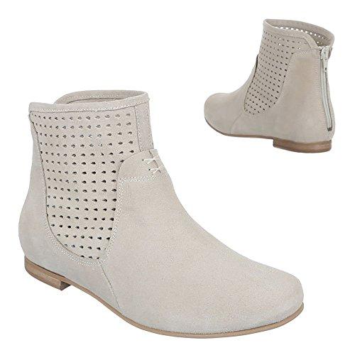 Damen Schuhe, 3211, Stiefeletten Perforierte Leder Boots Beige