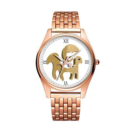Minimalistische Goldene Fashion Quarz-Armbanduhr Elite Ultra Dünn Wasserdichte Sportuhr Künstlerisches Muster -014.Widder, Horoskop, Sternzeichen, Astrologie