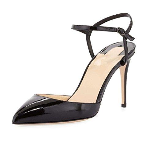 EDEFS Damen Spitz Zehe Comfort Pumps High Heels Elegant Knöchelriemchen Schuhe Schwarz