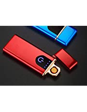 Auslese™ Mini Slim Electronic Touch Sensor Metal Lighter USB Rechargeable Windproof Flameless Lighter for Smoking