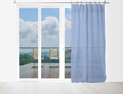 Soleil d'ocre Gardine aus Baumwolle mit Bändern 140x240 Panama blau
