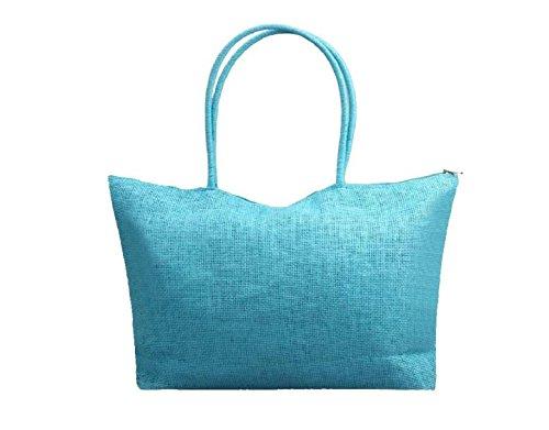 Hippolo Le donne di colore della caramella borsa da spiaggia a tracolla grande paglia nero 1