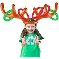 Party Inflatable Ring Toss Game, 2 Pack Christams Ring Toss Games Inflatable Reindeer Antler Hat with Rings for Christmas Family Kids Xmas Games