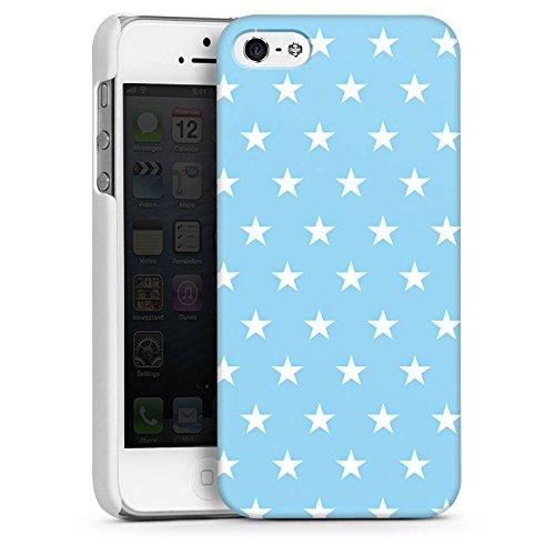 Apple iPhone 5s Housse Étui Protection Coque Petite étoile Bleu bébé Stars CasDur blanc