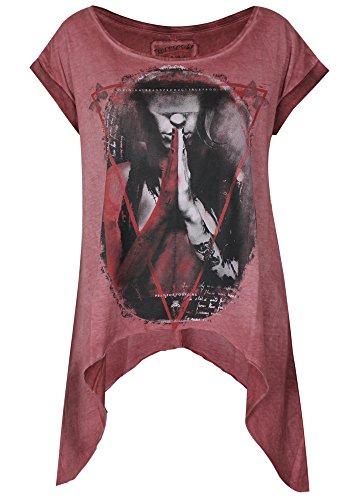 True Prodigy Trueprodigy Casuale Donna Magliette Motivo Stampa, Abbigliamento Urban Moda Girocollo (Manica Corta & Slim Fit Classic), Top Blusa Moda Vestiti Colore: Rosso 1063151-1550 Rosso