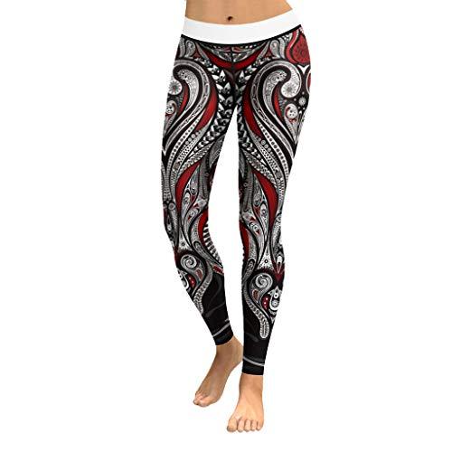 Cattliy Morran Damen Sport Yoga Hosen Leggings Printed Fitness Tights Hosen für Laufen Yoga Workout Gym Fitness Running Pilates Strumpfhose Skinny Pants (rot,M)