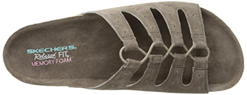 Skechers Granola Wrap It Up Slide Sandale Taupe Suede