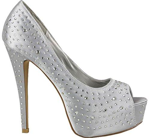 XINJING-S Frauen Damen High Heel Peep Toe Diamante Hochzeit Pumps Sandalen Größe 3-8 Silber
