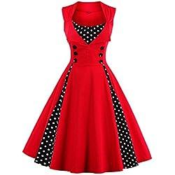Babyonlinedress Robe de Soirée/Bal Courte Rétro Vintage Impression année 1950 Style Audrey Hepburn Rockabilly Swing sans manche avec Boutons Grande Taille Pois Rouge L