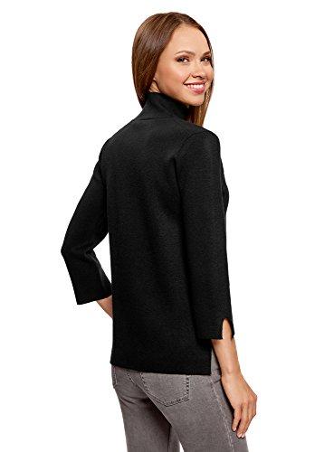 oodji Ultra Damen Pullover mit Stehkragen und 3/4-Arm Schwarz (2900N)