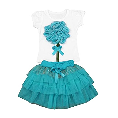 Kingko® Floral Decor T Shirt Baby Kids Girl's Dress Short Sleeves Tops Tee T-Shirt+Skirt Outfits Clothes Set (1-2 Years Old,