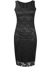 Lush Clothing C8-Floral Lace Bodycon Sleeveless Long Ladies Womens Midi Dress-Uk Size - Black - Uk 20-22
