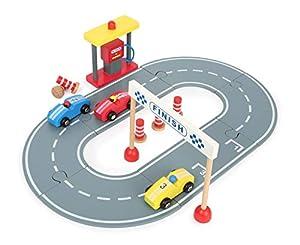 Small Foot 12013 - Coche de Carreras de Madera con gasolinera, Pilotos y Coches de Madera, para niños a Partir de 3 años