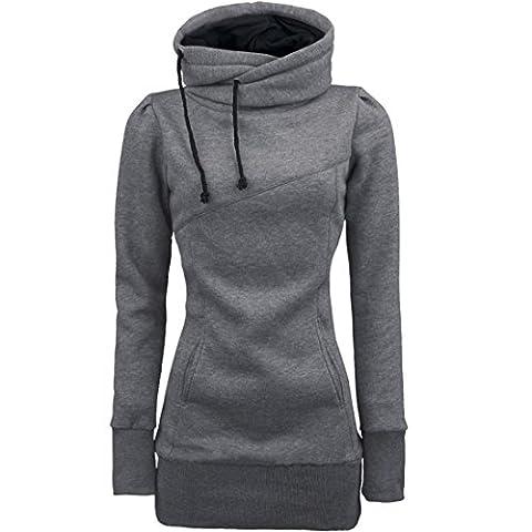 hoodie Pullover Damen Btruely Frau Langarm Lose Sweatshirt Casual Elegant Pullover Tops (XXL, Grau)