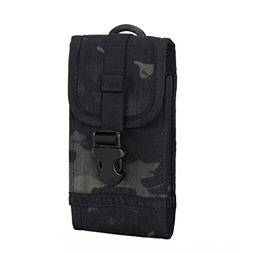 OneTigris Molle Taktische Handytasche für iPhone6/iPhone6 Plus/iPhone 6s/iPhone 6s Plus/iPhone 7/iPhone 7 Plus/Galaxy Note 4/BlackBerry 8300/HTC One Max (Schwarz Camo-500D Cordura Nylon)
