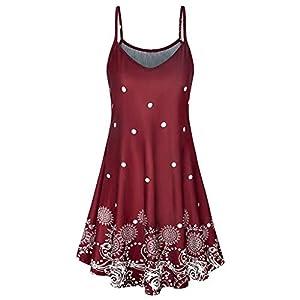 Dmitongz Damen Kleid mit Blumendruck, Sommerkleid, sexy, Boho, kurz, gestreift, ärmellos, O-Ausschnitt, Weste, Solid, schmal