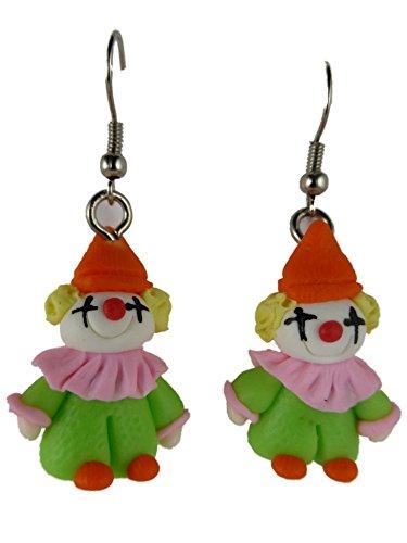 Ohrringe Ohrhänger Hänger handgemacht Clown Kostüm Fasching Karneval grün (Diy Kostüme Clown)