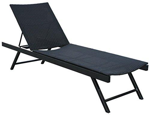 KMH, Polyrattan Sonnenliege Gartenliege Relaxliege Freizeitliege schwarz (4 String) (#106137)