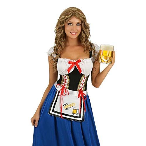 CLUBCORSETS® Ladies Long Length Blue Oktoberfest German Beer Festival Maid Fancy Dress Costume Sizes S-2xl (L)