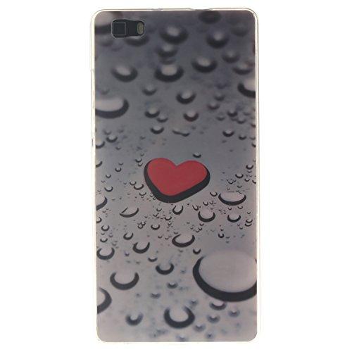 Qiaogle Téléphone Coque - Soft TPU Silicone Housse Coque Etui Case Cover pour Apple iPhone 6 Plus / iPhone 6S Plus (5.5 Pouce) - TX34 / Cute Panda TX32 / Rouge love heart raindrops