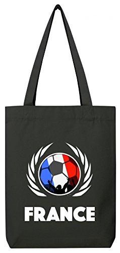 France World Cup Fussball WM Bio Baumwoll Tote Bag Jutebeutel Stanley Stella Fußball Frankreich Black