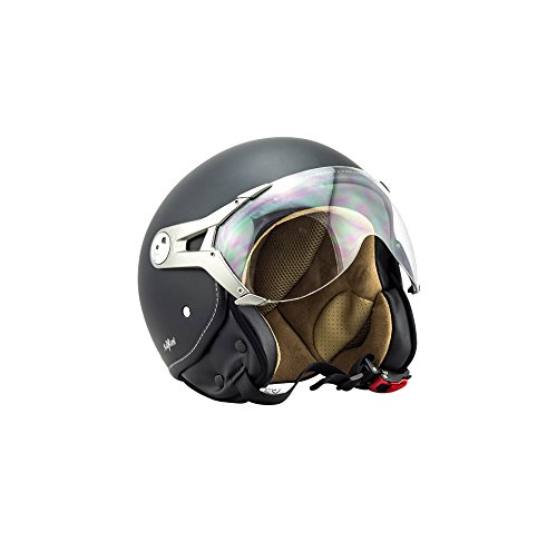 SOXON SP-325-MONO Night · Jet-Helm Retro Scooter-Helm Helmet Bobber Cruiser Motorrad-Helm Biker Chopper Roller-Helm Pilot Vintage Vespa-Helm Mofa · ECE zertifiziert · mit Visier · inkl. Stofftragetasche · Schwarz · S (55-56cm)