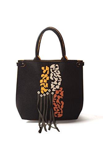 Comounaregadera Ubuntu, Bolso de Mano para Mujer, Negro (Black), 10x45x39 cm (W...