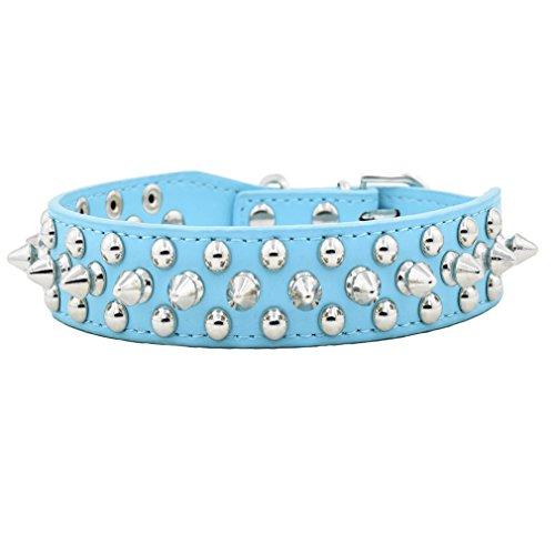 Hundehalsband Halsband aus PU Leder mit Nieten cool Design 2.26cm Breit XXS XS S M L mehr Farben wählbar für kleine wie Chihuahua / Mittlere Hunde hunter, Blau XS
