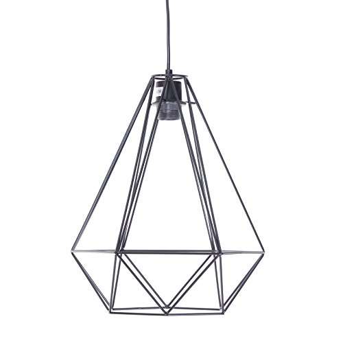Suspension Industrial Design Diamant Métal Noir 41 x 33 cm