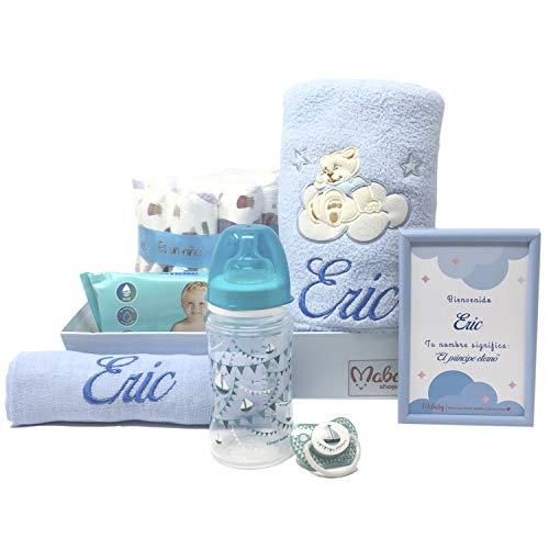 Canastilla de bebe personalizada que incluye manta bordada, muselina biberón y chupete, Modelo Mi Bibi...