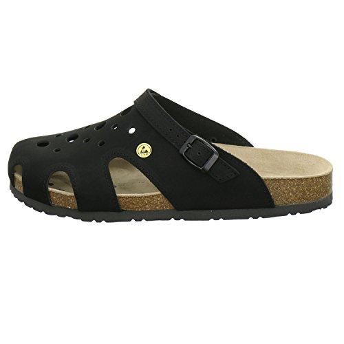 AFS-Schuhe 31993 ESD-Clogs, Bequeme Hausschuhe für Damen und Herren, Praktische Arbeitsschuhe, Echtes Leder Schwarz