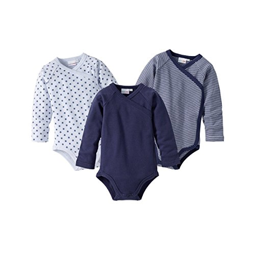 BORNINO 3er-Pack Wickelbodys langarm Baby, Größe 62/68, blau