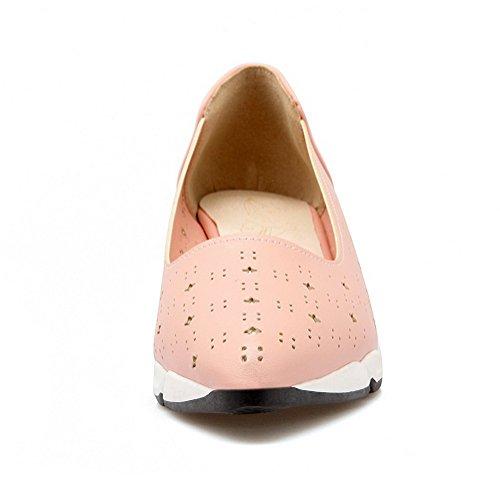 AllhqFashion Damen Mittler Absatz Weiches Material Rein Ziehen Auf Spitz Zehe Pumps Schuhe Pink
