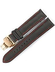istrap 20mm Piel de vacuno Acero Correa de Reloj de pulsera de reloj cierre de implementación de mariposa con botón negro 20