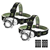 LE Linterna Frontal LED con Luz roja 3W 150lm, Pilas AAA Incluidas, Pack de 2 para Acampada, Correr, Caminata, Casco, etc