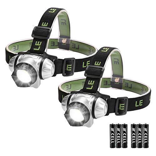 Lighting EVER Le Luci LED da Testa, 4 modalità Luce Bianca e Rossa Rotabile Fascia Elastica Regolabile per Running Jogging Trekking, 2 Pezzi, 3 x Batterie AAA Incluse