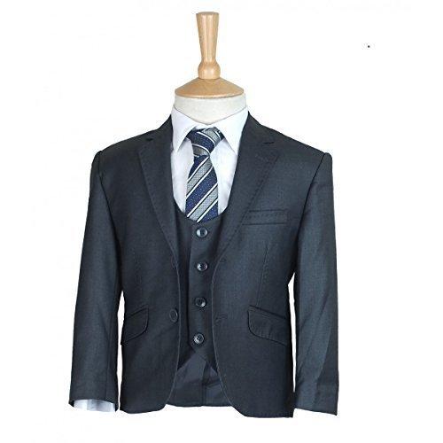 SIRRI Designer Jungen Formelle Enganliegend Anzüge, Pagen Hochzeit Ball Anzug, Exklusiv Kinder Anzug - Dunkelgrau 3 Teile, Jungen, 152
