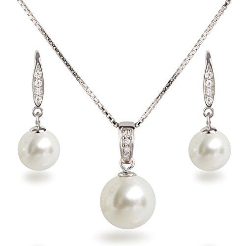 Schöner SD, Schmuckset Perlen weiß Anhänger, Kette und Ohrhänger besetzt mit Zirkonia, 925 Silber Rhodium