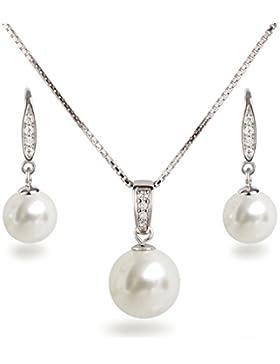 Schöner SD, Schmuckset Perlen Anhänger, Kette und Ohrhänger besetzt mit Zirkonia, 925 Silber Rhodium