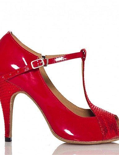ShangYi Chaussures de danse(Noir / Rouge / Gris) -Personnalisables-Talon Personnalisé-Cuir / Similicuir-Latine / Jazz / Salsa / Samba / Red