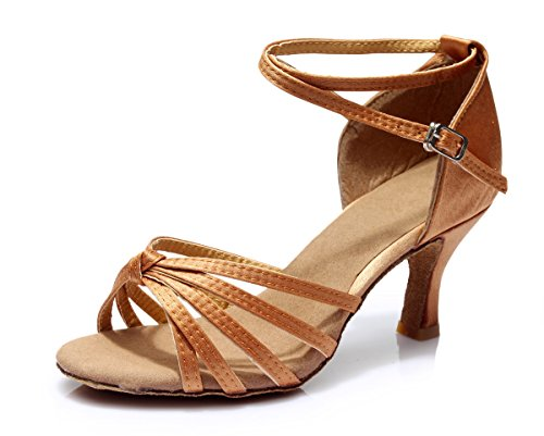 Vesi - donna scarpe da ballo latino/sala da ballo/standard tacco 5cm/7cm nodo marrone 38