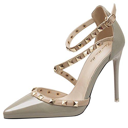 Oasap Damen Stilvolle Mit Nieten Pfennigsabsätzen Schuhe Grey-1